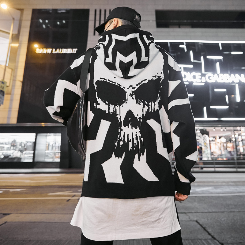 Hooded Batwing Sleeve Knitted Sweater Men Skull Pattern Hip Hop Sweater Man Round Neck Pull For 2019 Fall Loose Pullover