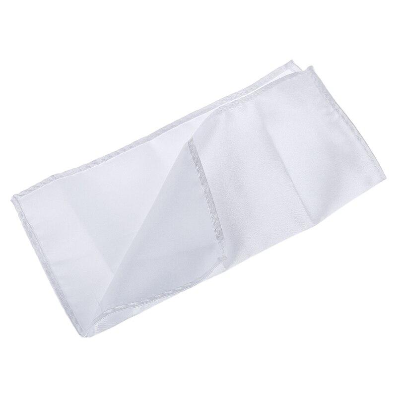 Men's Pocket Hanky Plain Color Wedding Party Square Hankerchief (White)