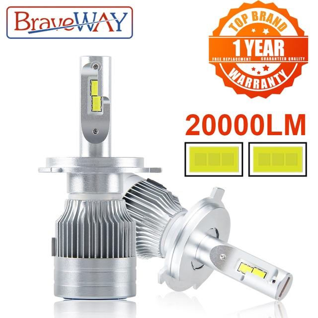 BraveWay 20000LM LEDหลอดไฟอัตโนมัติH1 H4 H8 H9 H11 HB3 HB4 9005 9006 ไฟหน้าLED H7 Canbus H11 H7 LEDหลอดไฟหลอดไฟสำหรับรถยนต์