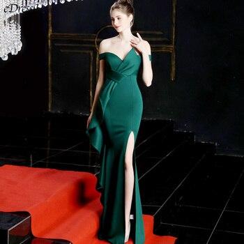 Green Evening Dress Boat Neck Elegant Party Dress Sexy Mermaid Evening Party Gown Vestido de Fiesta Split Prom Dress YNY-16655