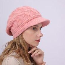 Модная трикотажная шляпа женские зимние шапки для женщин из кроличьей шерсти шапка шапочки для девочек Skullies кепки с козырьками капот Femme теплая шерстяная шапка