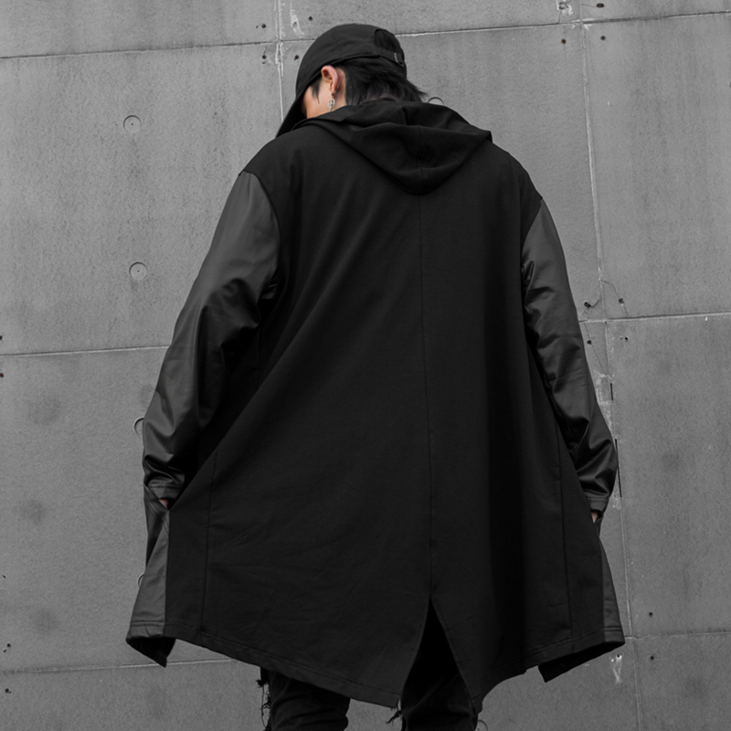 Hip hop Mens leather hoodies with hood Black Loose Hard rock Hooded sweatshirts Swallow tail in Hoodies amp Sweatshirts from Men 39 s Clothing