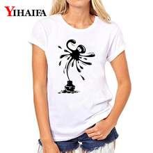 Women T-shirt 3D Print Ink Octopus Graphic Tee Casual Lady Summer White T Shirts Hip Hop Animal Short Sleeve Tops short sleeve octopus tentacles print tee