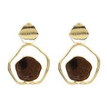 FIAZIA Metal Drop Earring For Women Jewelry Accessories Statement Bijou Simple Dangle Earrings Irregular Geometric