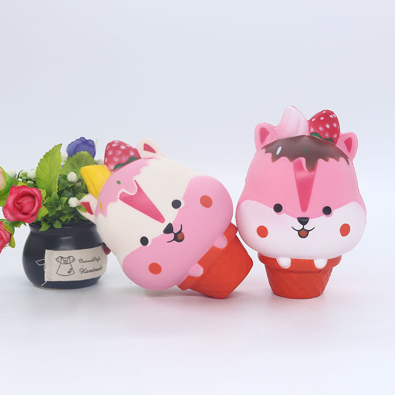 Toy Squishy Compress Pink Cute Squirrel Slow Rising Cream Scented Decompression Toys Anti Stress Stress Reliever Toys For Kids