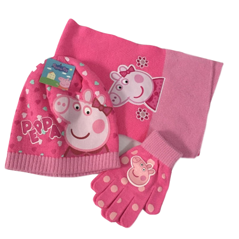 Peppa Pig Peggy Knitted Winter Scarf Gloves Knit Cap Three-Piece Fashion Joker Child Birthday Xmas Gift