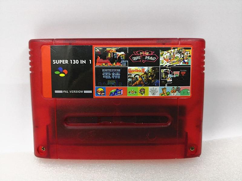 Купить с кэшбэком Transparent red Super 130 in 1 Games with Axelay Captain Commando Castlevania IV Sim City Samurai Shodown