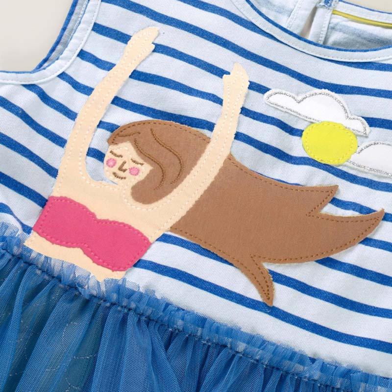 2-8 Years New Girls Dresses 2021 Summer Kids 100% Cotton Children Princess Dress Stripe Printing Clothes 6
