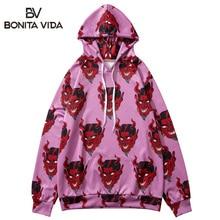Bonita Vida Devil Printed Hip Hop Hoodies Men 2019 Fashion Streetwear Harajuku Japanese Ukiyo E Hawaiian Purple Sweatshirt