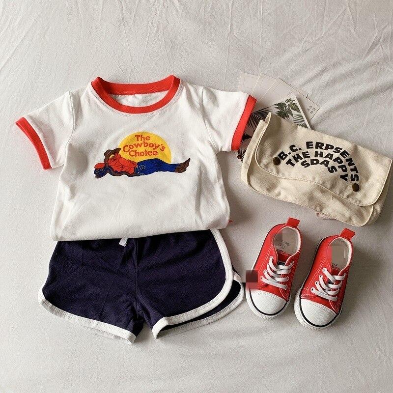 EnkeliBB 2020 Toddler Boys Girls Summer Tops Unisex Casual White T-shirt Kids Summer Tees Cowboy Letter Print Children T Shirts
