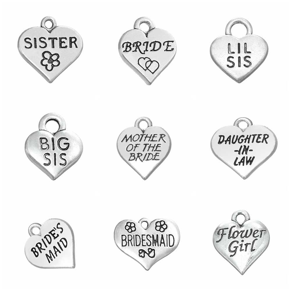 10pcs Charms Family Tags For Wedding Bride Sister Lil Sis Bridesmaid Flower Girl Antique Silver Pendant Wedding Charms