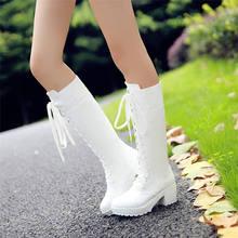 KARINLUNA/ г. Большой размер 33-48, Черная женская обувь на платформе женские сапоги до колена на квадратном каблуке со шнуровкой меховая подкладка
