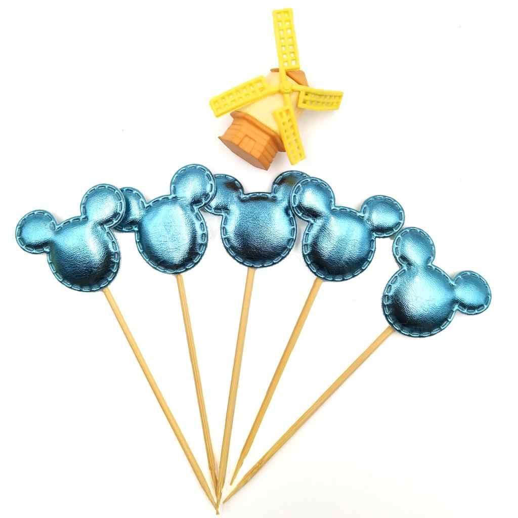 5 ชิ้น/ล็อต Blue Mickey Mouse Cupcake Toppers วันเกิดฝักบัวเด็กเด็กอุปกรณ์เค้ก Toppers ชุด