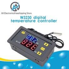 W3230 dc 12v 24v 110v 220v ac controlador de temperatura digital display led termostato com interruptor refrigeração aquecimento sensor ntc