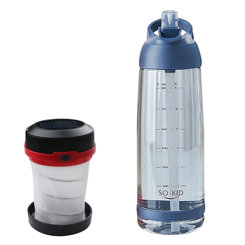 2 Pcs Outdoor Product : Portable Straw Cup Large Capacity Cup Outdoor Sports Water Bottle 1000Ml Blue Plastic & Solar Lantern Le|Sports Bottles| |  - title=