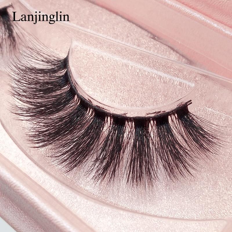 LANJINGLIN 1 Pair Full Strip Lashes Book 3d Handmade Natural Long Mink Eyelashes Dramatic Volume False Lash Extension Makeup