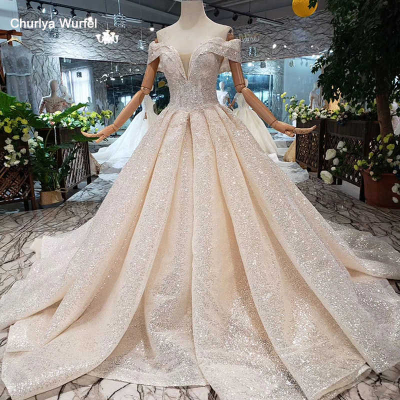 Ls11507 Shiny Wedding Dresses Glitter Off The Shoulder V Neck Short Sleeves Bridal Dresses Ball Gown Laced Up Back Wedding Gown Wedding Dresses Aliexpress