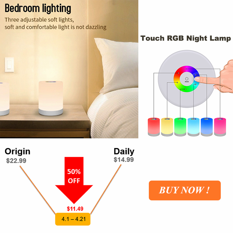 LED Night Light Portable Table Bedside Lamps Rechargeable Warm White Light and Color Changing RGB Smart Touch Colorful Lamp Gift