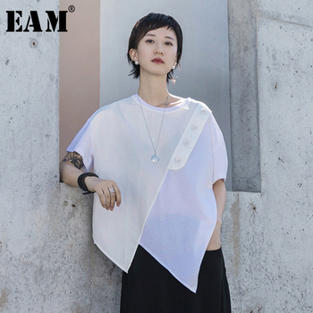 [EAM] Women White Asymmetrical Hem Button Big Size T-shirt New Round Neck Short Sleeve Fashion Tide  Spring Summer 2020 1T070