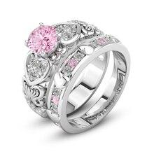 FDLK     2pcs Exquisite Beautiful Pink Rhinestone Ring Set Bride Princess Wedding Engagement Heart Ring