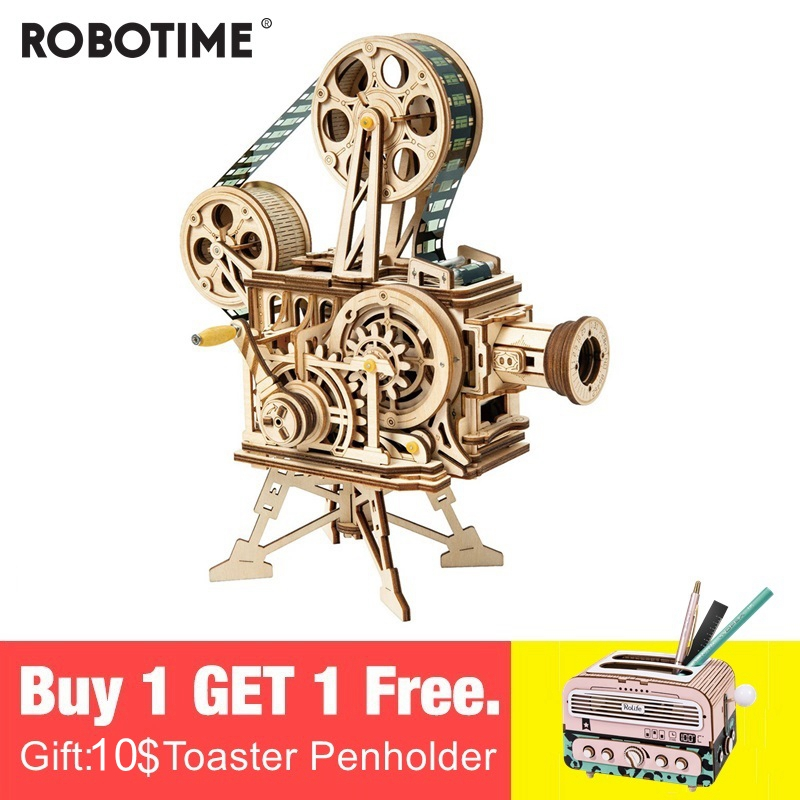 Robotime Vintage Diy 3D Hand Crank Film Projector Wooden Puzzle Game Assembly Vitascope Toy Gift for