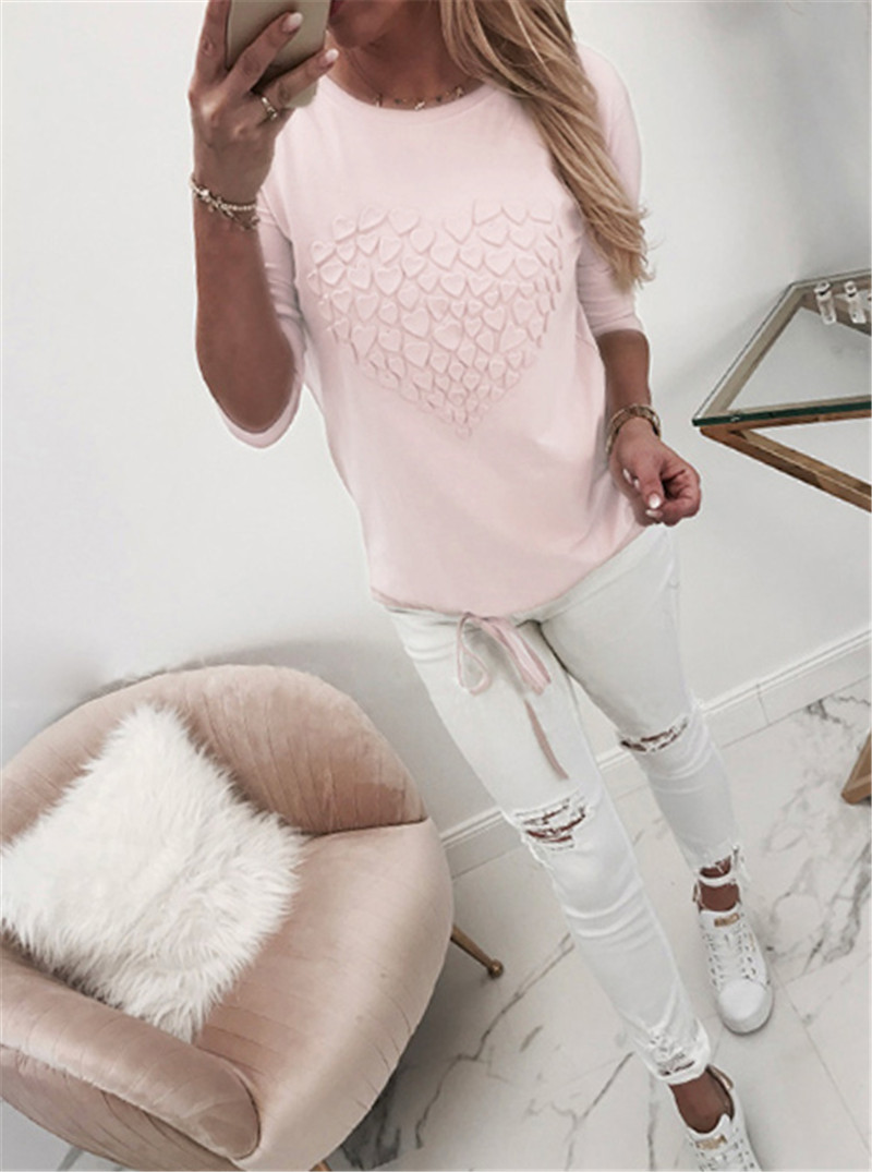 Women Long Sleeve Hoodies For Streetwear Heart Design O-Neck Solid Color Top Fashion Lady Autumn Slim Bandage Shirts