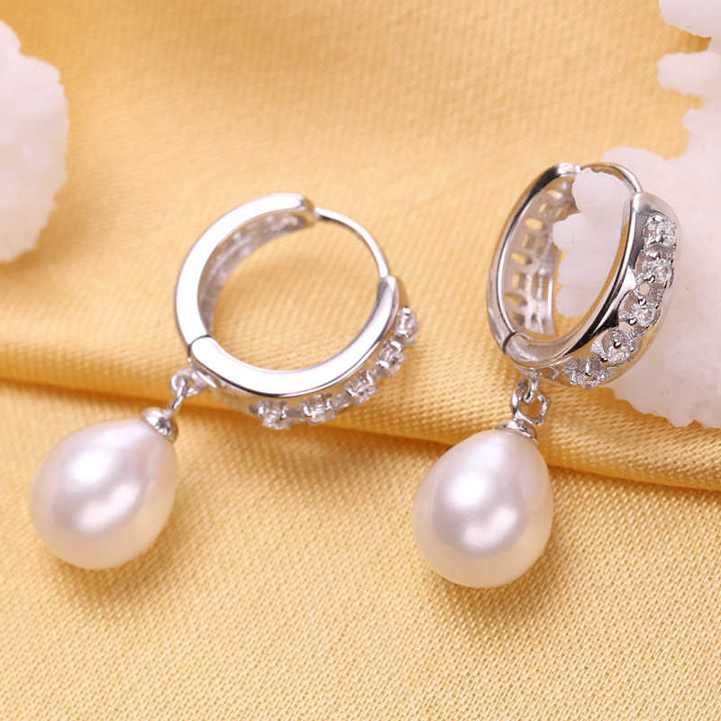 FENASY Pearl Jewelry Sets Classic Daily Wear Natural Pearl Pendant Necklace 925 Sterling Silver Drop Earrings For Women