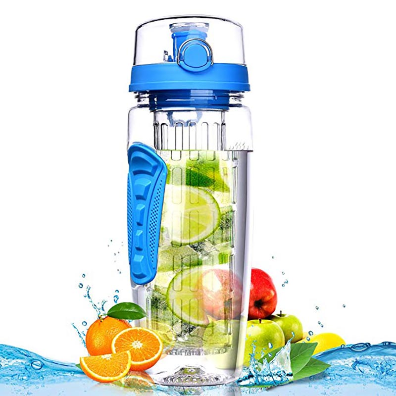 Fruit Infuser water bottle 1000ml bpa free water+bottles gym bottle reusable Flip Top Lid drinkware travel gift items for adults image