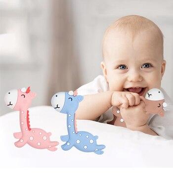 цена на Silicone Giraffe Teethers DIY Animal Baby Ring Teether BPA Free Infant Cute Cartoon Chew Charms Food Grade Kids Teething