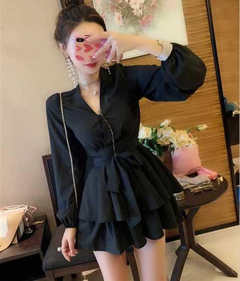Fox Mrs. Early Autumn New Products Clothes Fashion Elegant Loose-Fit V-neck Long Sleeve Bandage Cloth A- Line Dress Divided Skir