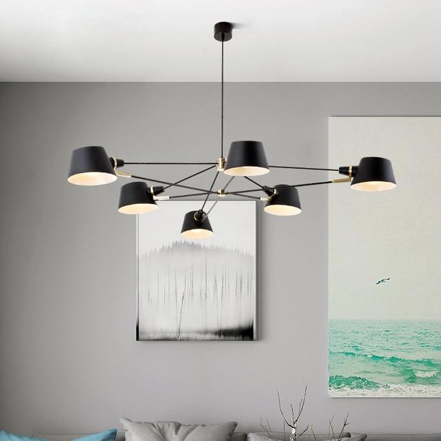 الشمال أضواء الثريا/مصباح غرفة المعيشة الحديثة معلقة تركيب المصابيح تعليق أسود مصابيح لغرفة الطعام غرفة نوم