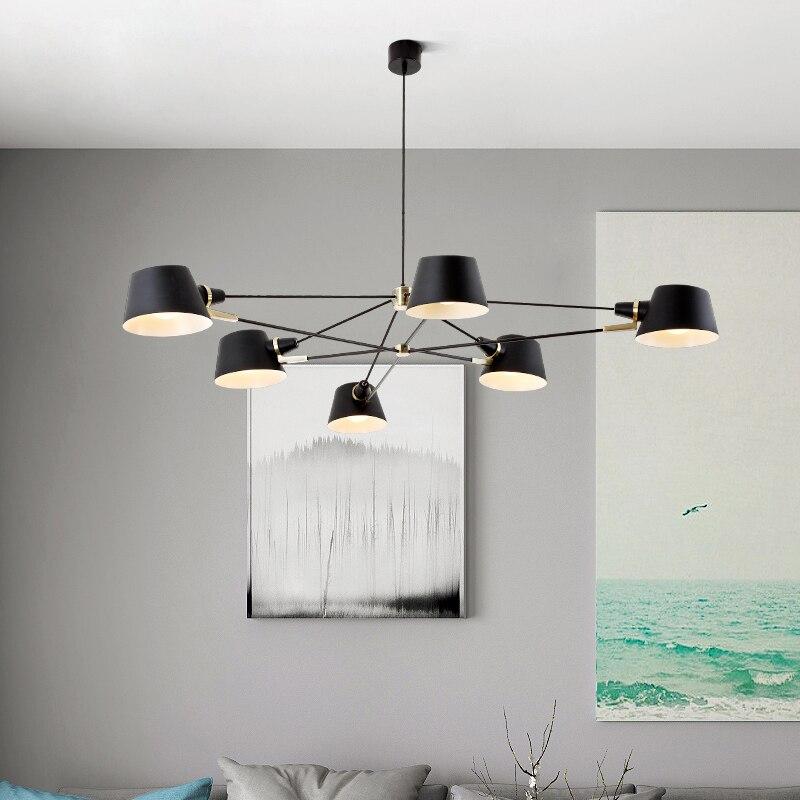 Nordic Chandelier Lighting/Lamp  Modern Living Room Hanging Light Fixture  Black Suspension Lamps For Dinning Room Bedroom-in Chandeliers from Lights & Lighting