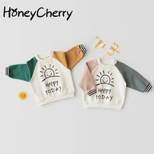 Toddler Girl Tops Boys And Girls Autumn Long Sleeve T-shirt Baby Clothes Pure Cotton Cute Bottom Shirt Jacket(China)