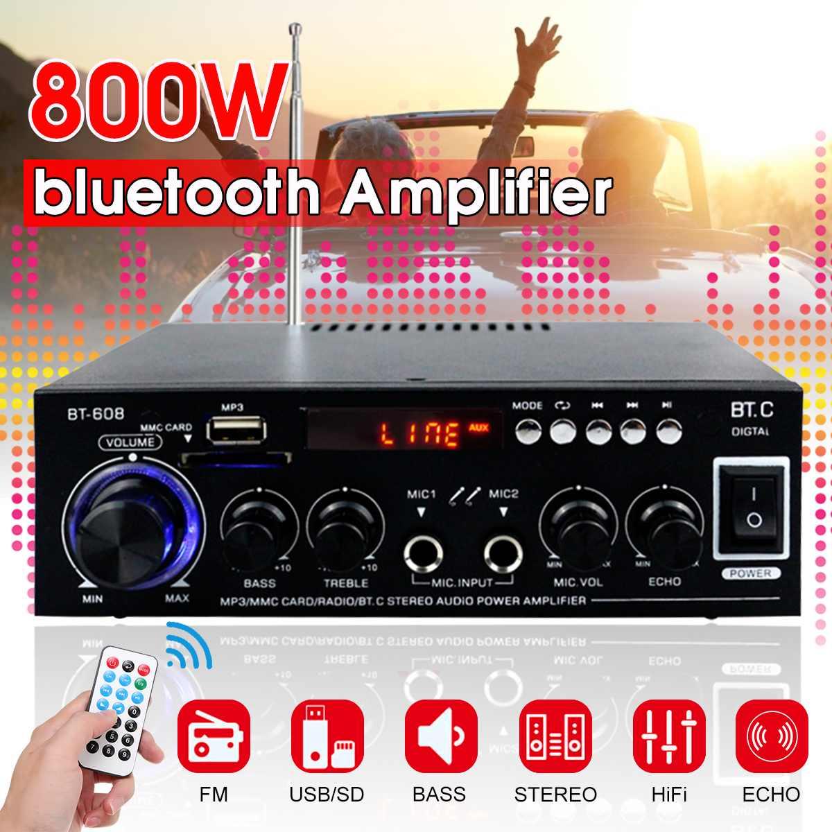 400W + 400W HIFI 2CH 800W аудио Мощность усилитель 110/220V Звук Системы аудио мини усилитель цифровой FM радио USB SD усилители bluetooth