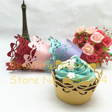 50pcs/lot Butterfly bow-knot Lace Laser Cut Cupcake Wrapper Liner Baking Cup Hollow Paper Cake Cup DIY Baking Fondant Cupcake hollow cut insert knot back dress