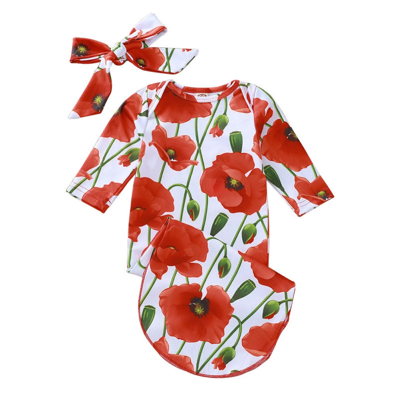 0-12 Months Newborn Cute Cartoon Sleeping Bag Long Sleeve Baby Boys Girls Cotton Floral Print Hair Band Bedding High Quality