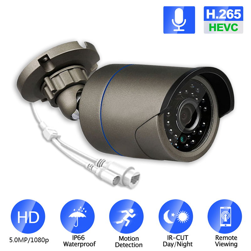 IP Camera 5mp Waterproof Outdoor IRCut Night Vision Security Network Onvif IP 48V POE H265 Audio Camera Support IOS/Andriod View