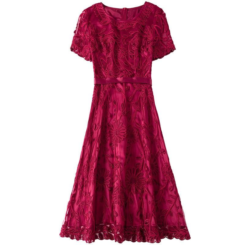 2019 novo no início do outono em torno do pescoço curto-de mangas compridas A-line vestido de alta cintura era fina bordado pesado bordado malha das senhoras pano
