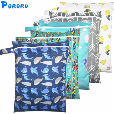 Waterproof Wet Bag Baby Cloth Diaper Bags Travel Wet Dry Bags Wholesale  Zipper Reusable Baby Nappy Rubbish Wet Bag 30x40cm