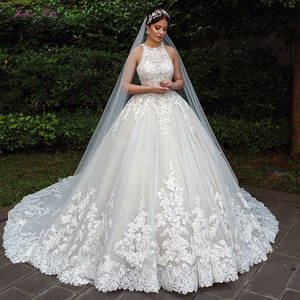 Image 1 - Julia Kui Halter Neckline Luxury Ball Gown Wedding Dress With Chapel Button Closure Wedding Gown