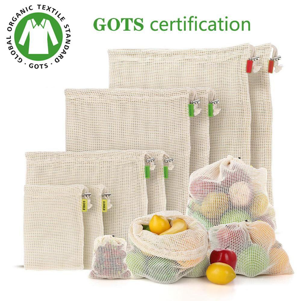 Мешок для овощей и фруктов, сумка для хранения, многоразовые сумки, экологически чистые 100% органические хлопковые сетчатые сумки, биоразлаг...