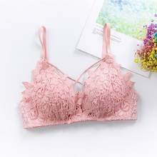 Sexy lace bralette lingerie thin wire free underwear Deep V 3/4 cup