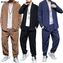 Mens Suits Shirt Waist-Pants INCERUN Men-Sets 2-Pieces Cotton Casual Autumn Solid Long-Sleeve