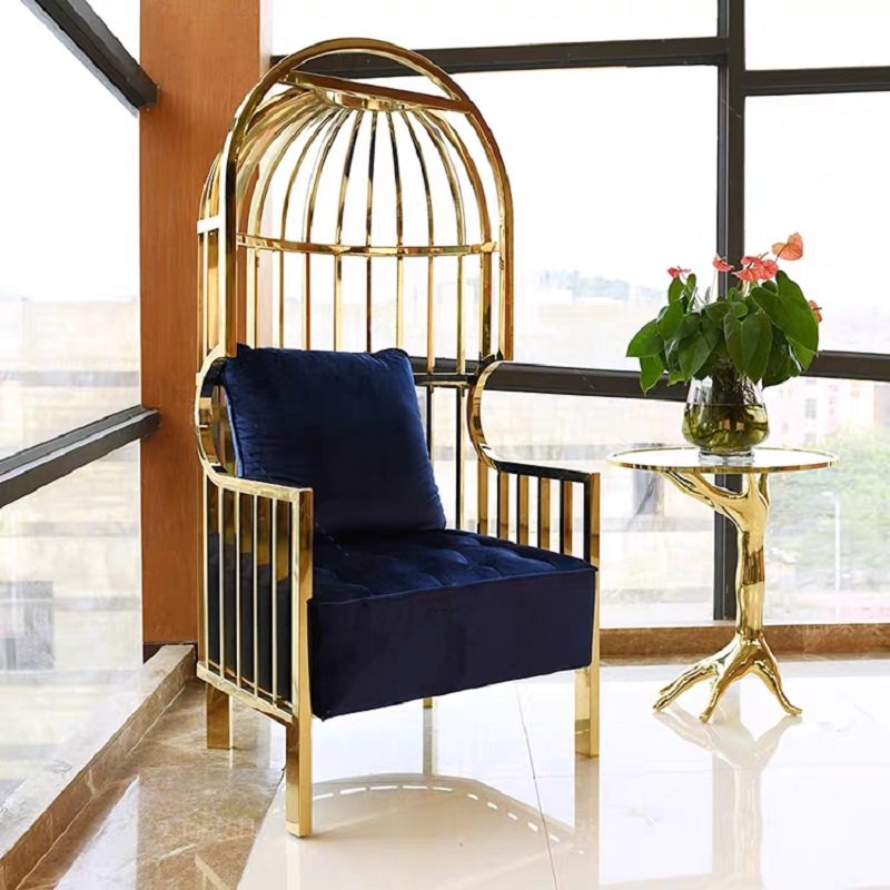 U-BEST Glod High Back Stainless Steel King Throne Wedding Chair Scallops Shape Back Gold Stainless Steel King Chair