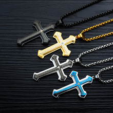 Best selling jewelry titanium steel mens necklace three-layer cross Bible new trend pendant men