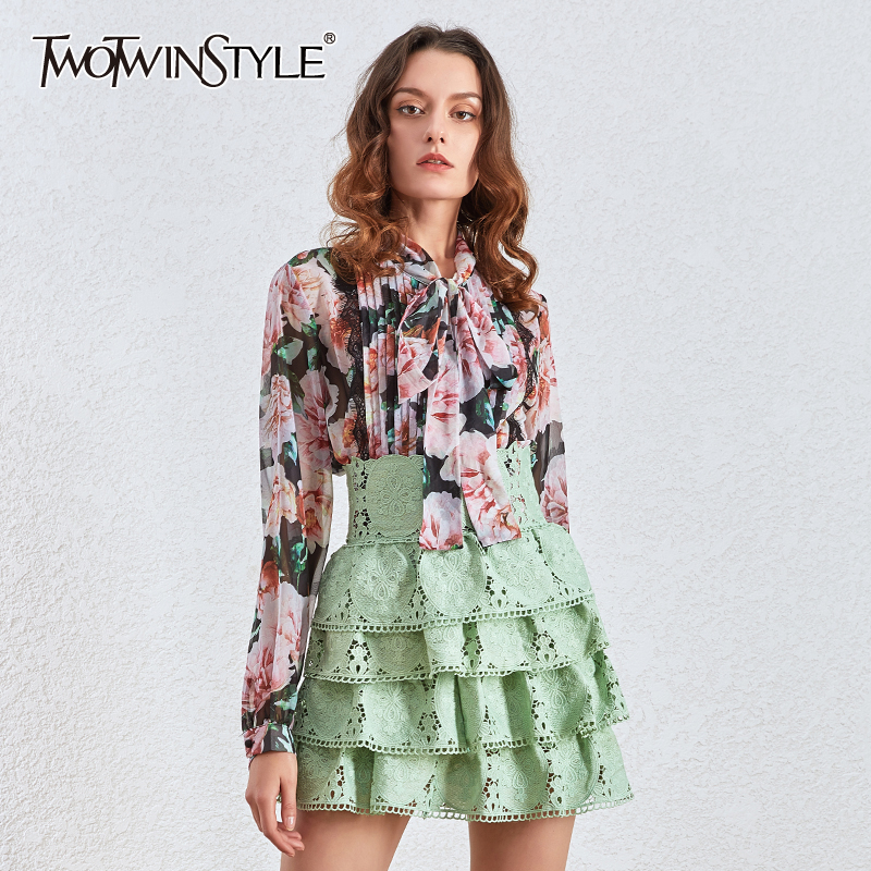 TWOTWINSTYLE Casual Print Floral Women's Blouses Bow Collar Lantern Long Sleeve Loose Ruched Shirts Female Fashion Clothing Tide