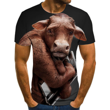 Summer T shirt Men Streetwear Round Neck Short Sleeve Tees Tops Funny Animal Male Clothes Casual Dog cow 3D Print Tshirt