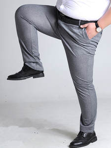 Casual Pants Trouser-Pant Elastic Grey Black Straight Plus-Size 50 52 Big Business 48