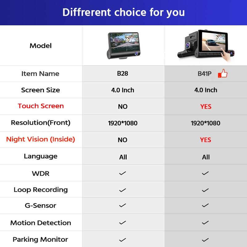 E-ACE Mini Auto Dvr 4,0 Zoll Dashcam 1080P FHD Video Recorder 3 Kamera Objektiv Dash Kamera Mit Rückansicht kamera Registrator DVRs