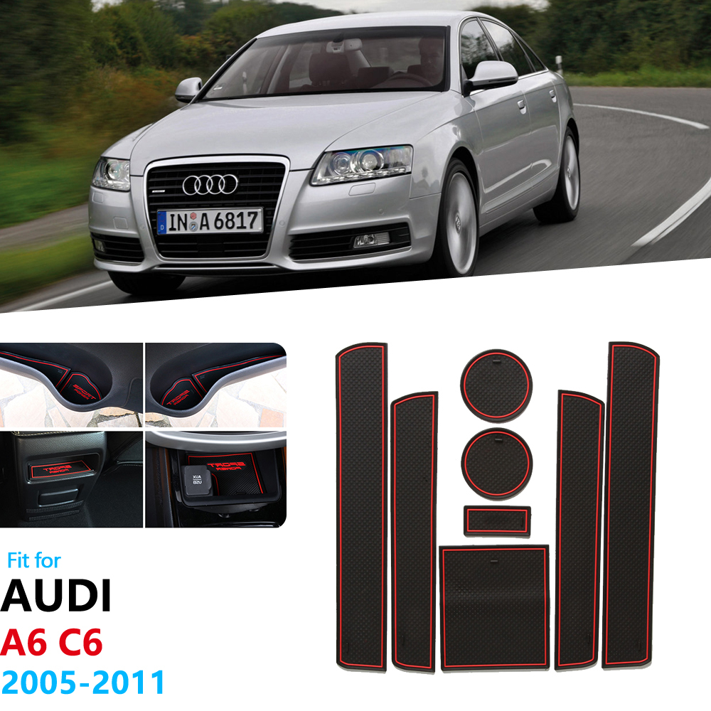 Accessories For Audi A6 C6 2005 2006 2007 2008 2009 2010 2011 4F RS6 S6 S Line RS 6 Anti-Slip Rubber Gate Slot Cup Mat Stickers